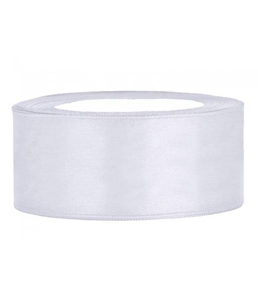 Hvid satinbånd 25 mm. 25 m