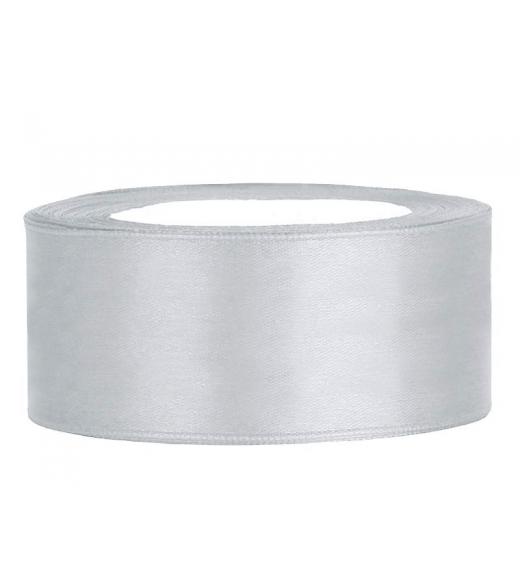 Sølv satinbånd 25 mm, 25 m.