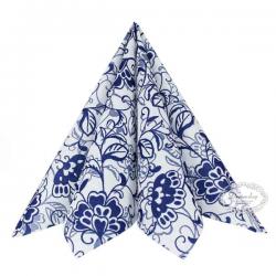 Airlaid-Tekstilserviet. Liv. Blå blomster. 40 x 40 cm. 12 stk