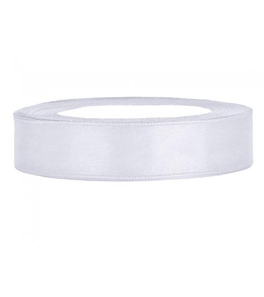 Hvid satinbånd 12 mm, 25 m.