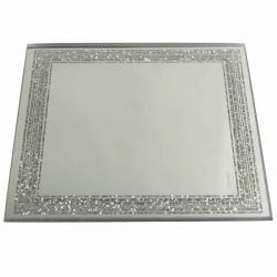 Firkantet spejl 10 cm. med glimmerkant