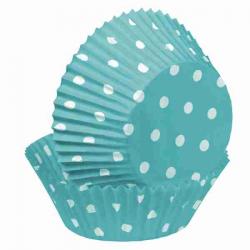 Turkis muffinsforme med polkaprikker