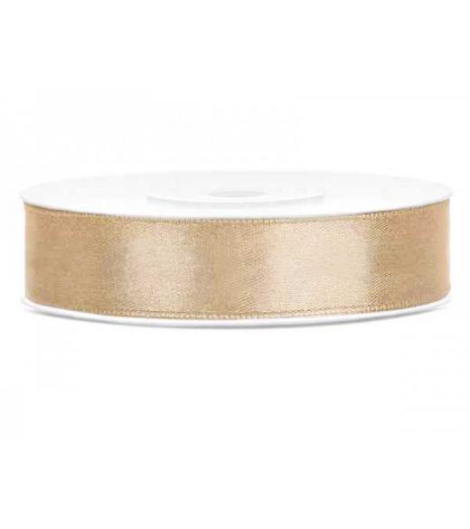 Lys Guld satinbånd 12 mm, 25 m.