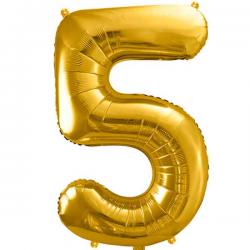Guld folie ballon 5 tal. 85 cm