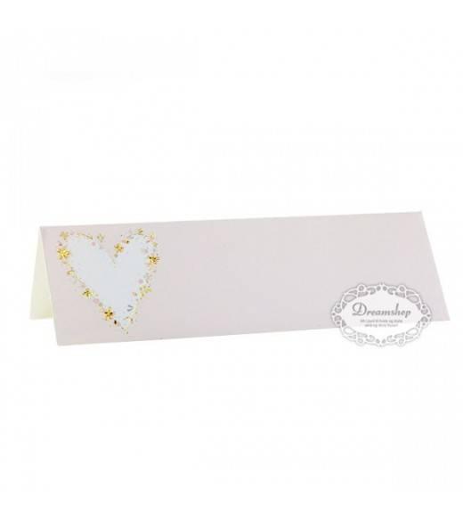 5 stk rosa glaskort til bryllup guld hjerte
