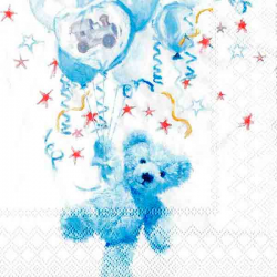 Servietter barnedåb lyseblå bamse og balloner. 20 stk