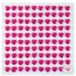 Selvklæbende Pink hjerte rhinsten. 100 stk