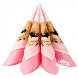 Bamse barnedåbs servietter lyserød