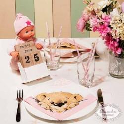 Bamse barnedåbs servietter lyserød til barnedåb