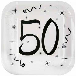 Hvide 50 års fødselsdag paptallerkner 10 stk