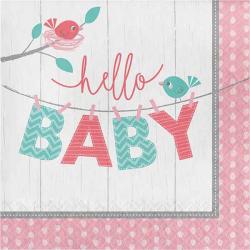 Pastelrosa Hello Baby servietter Girl 16 stk