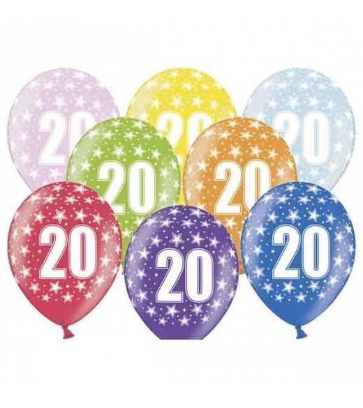 6 stk balloner 20 års fødselsdag