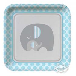 8 stk paptallerkner lyseblå elefant