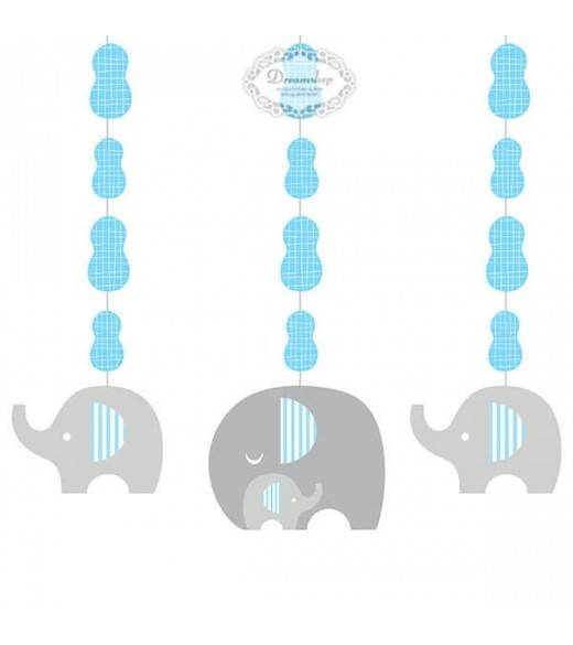 3 stk loftdekorationer lyseblå elefant
