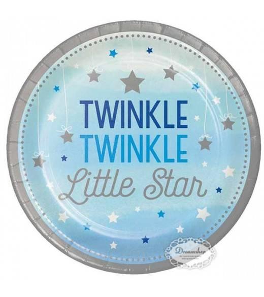 8 stk paptallerkner lille stjerne lyseblå