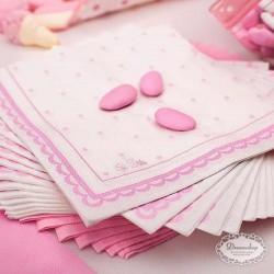 16 stk servietter lyserød prik