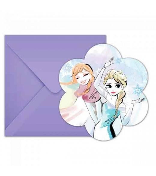 6 Invitationer Frost Sparkle