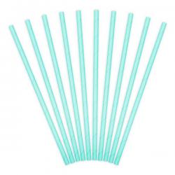Pastel turkisblå papirsugerør 10 stk