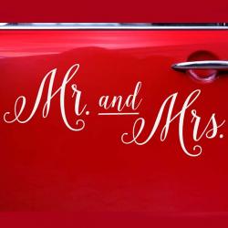 Klistermærke til bil - Mr. and Mrs.