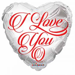 I Love You hvid folieballon 46 cm