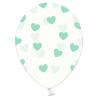 6 stk klare balloner med mint hjerter