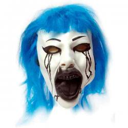 Horror maske med blåt hår