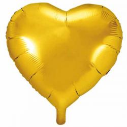 Guld folieballon hjerte 45 cm