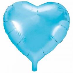 Lyseblå folieballon hjerte 45 cm