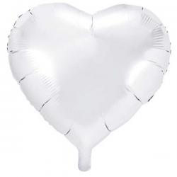 Hvid folieballon hjerte 45 cm