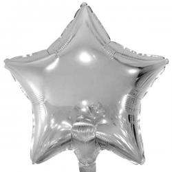 Sølv folieballon stjerne 45 cm