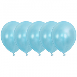 Ballon metallic lyseblå. 50. Stk