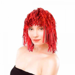 Rød Glitter Paryk