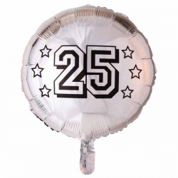 Folieballon Sølv 25. 46 cm