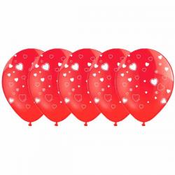 Rød ballon med hvide hjerter 50 Stk