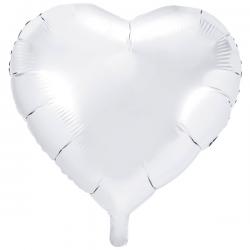Hvid Hjerte Folieballon 61 cm