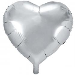 Sølv Hjerte Folieballon 61 cm