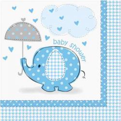 Lyseblå Baby Shower Servietter Elefant 16 Stk