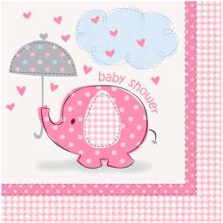 Lyserøde Baby Shower Servietter Elefant 16 Stk