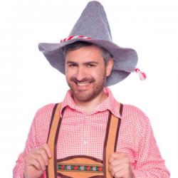 Bavarian Seppelhut til Oktoberfest Rød & hvid