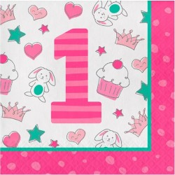 Pink Servietter 1 års fødselsdag 16 stk.