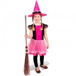 Pink og sort Hekse kostume 6-8 år