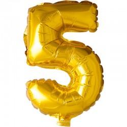 41 cm guld folie balloner tal 5