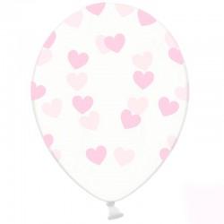 6 stk klare balloner med lyserøde hjerter