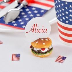USA Bordkortholder Burger. til amerikansk temafest