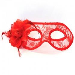 Rød blonde maske med blomst