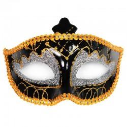 Guld / sort glimmer maske