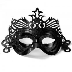 Sort maskerade maske med pynt