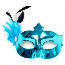 Turkis maskerade maske med fjer pynt