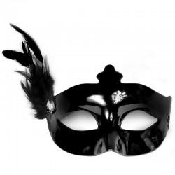 Sort maskerade maske med fjer pynt