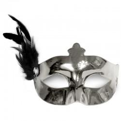 Sølv maskerade maske med fjer pynt